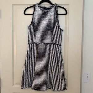 Zara Navy Blue and White Striped Dress NWOT